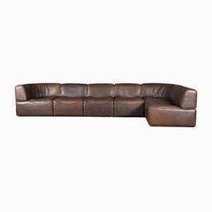 Modulares DS-15 Sofa aus braunem Büffelleder von de Sede, 1970er