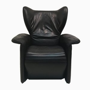 Vintage Black Leather Elephant Lounge Chair by Walter Knoll