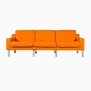Sofá de tres plazas Mid-Century en naranja, años 80