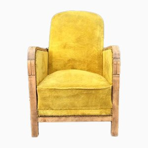 Vintage Art Deco Yellow Lounge Chair