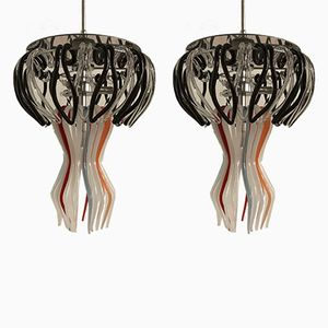 Murano Glass Jelly Fish Pendants from Barovier & Toso, Set of 2