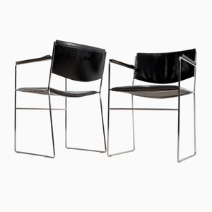 Italian Modern Black Leather & Steel Dining Chairs, 1970s, Set of 2
