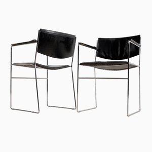 Moderne italienische Esszimmerstühle aus schwarzem Leder & Stahl, 1970er, 2er Set