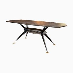 Silberner italienischer Tisch aus Travertin & Eisen, 1950er