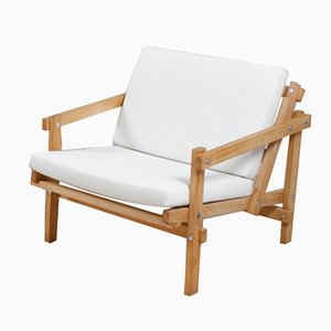 Beech & White Linen Cleon Lounge Chair by Martin Visser for Arspect, 1970s