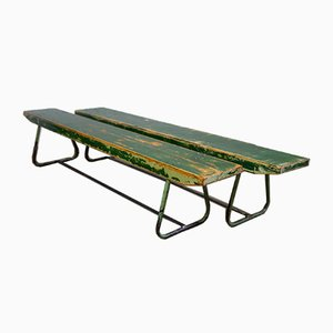 Vintage Czech Industrial Benches, 1970s, Set of 2
