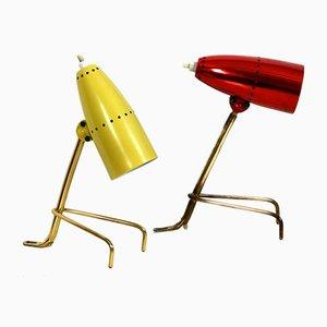 Mid-Century Tischlampen mit Krähenfuß aus Messing, 2er Set