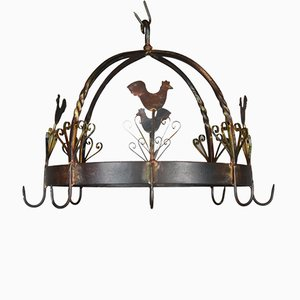 Mid-Century French Wrought Iron Kitchen Pot Rack