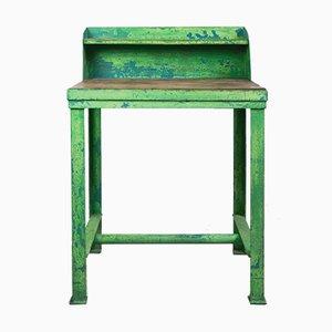Mesa de taller industrial vintage en verde lima, años 50