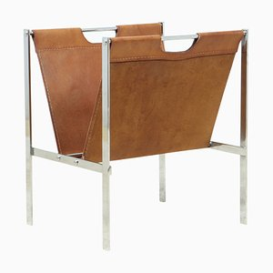 Chrome & Coach Leather Magazine Rack, 1960s