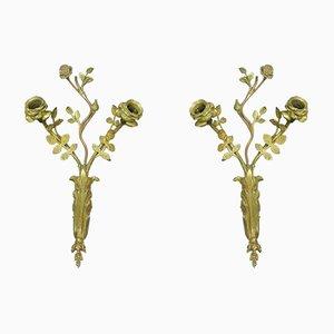 Antike französische Wandleuchten aus vergoldeter Bronze, 2er Set