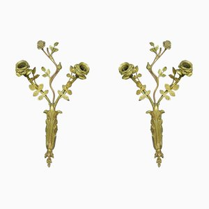 Apliques de pared franceses antiguos de bronce dorado. Juego de 2