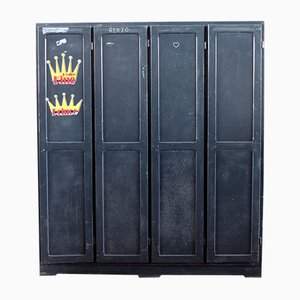 Vintage Industrial Cabinet with 4 Doors