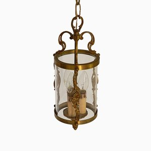 French Brass Triple Light Hall Lantern, 1920s