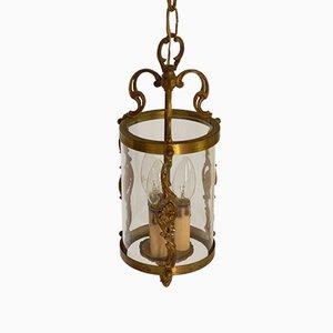 French Brass Triple Light Hall Lantern, 1920s