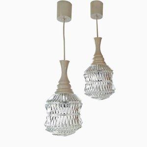 Lámparas colgantes vintage en forma de globo de vidrio. Juego de 2