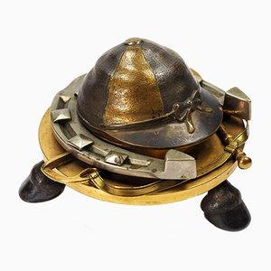 Tintero ecuestre francés antiguo de bronce