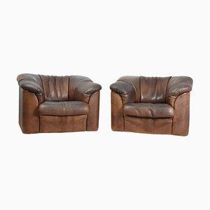 Sedie DS45 in pelle marrone di de Sede, anni '80, set di 2