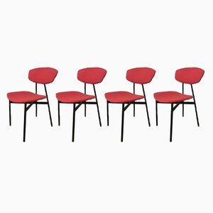 Mid-Century Italian Modern Black Iron Chairs, 1960s, Set of 4