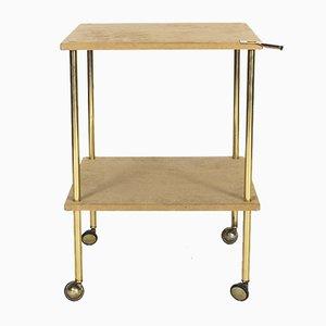 Tavolino T9 vintage in ottone e velluto di Luigi Caccia Dominioni per Azucena