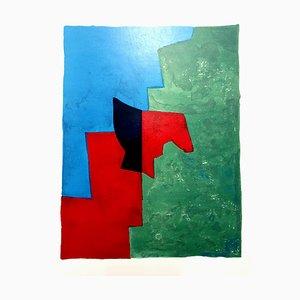 Litografia Abstract Composition di Serge Poliakoff abete G. Di San Lazzaro, 1961