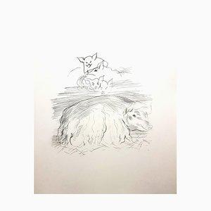 Gravure à l'Eau-Forte Farm Pigs par Raoul Dufy, 1940
