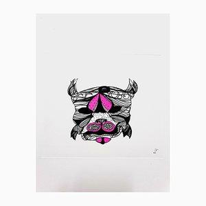 Violette surrealistische Cat Radierung von Leonor Fini, 1985