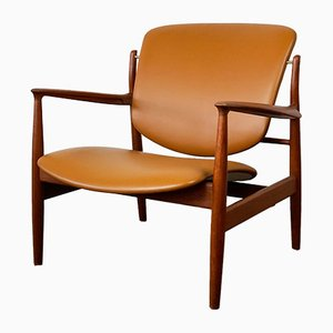 Scandinavian Teak & Leather FD136 Lounge Chair by Finn Juhl for France & Søn, 1960s