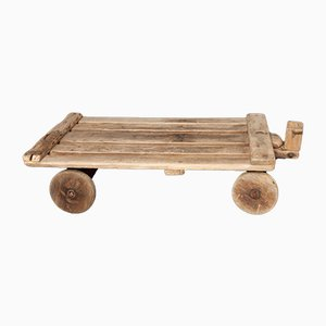 Vintage Rustic Coffee Table with Wheels, 1930s