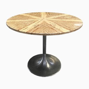 Mid-Century Modern Italian Dining Table with Aluminum Base & Yellow Travertino Top, 1970s
