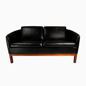 Mid-Century Danish Leather & Rosewood Sofa by Illum Wikkelso for Holger Christiansen, 1950s