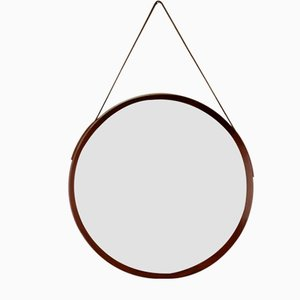 Circular Mid-Century Italian Walnut & Leather Wall Mirror