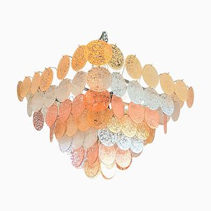 Large Pyramidal Murano Discs Chandelier from Vistosi, 1970s
