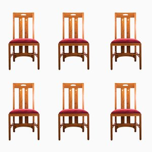 Chaises Ingram en Merisier par Charles Rennie Mackintosh pour Cassina, 1990s, Set de 6