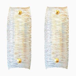 Apliques Mid-Century de cristal de Murano claro y latón de Barovier & Toso. Juego de 2