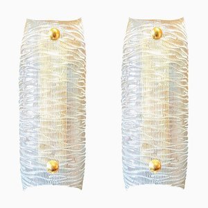 Mid-Century Clear Textured Murano Glass & Brass Sconces from Barovier & Toso, Set of 2
