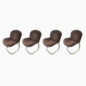 Mid-Century Modern Italian Gilt Metal and Velvet Chairs by Gastone Rinaldi for Rima, Set of 4