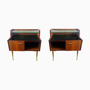 Italian Rosewood, Glass & Brass Bedside Cabinets, 1960s, Set of 2