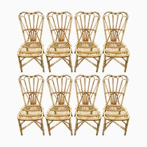 Rattan Chairs by Audoux & Minet, 1950s, Set of 8