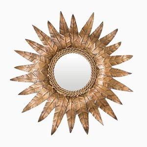 Miroir Soleil Mid-Century en Métal Doré