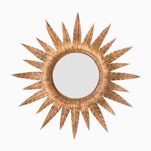 Specchio Mid-Century a forma di sole in metallo dorato