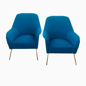 Mid-Century Blue Lounge Chairs, 1960s, Set of 2