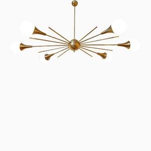 Large Mid-Century Modern Italian Stilnovo Style Brass & White Glass Sputnik Chandelier, 1960s