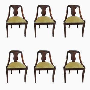 Empire Mahogany Gondola Chairs, 1960s, Set of 6