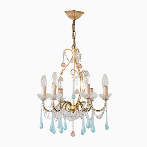 Vintage Pink & Turquoise Chandelier, 1960s