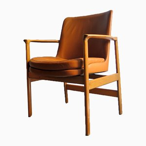 Danish Cognac Leather Armchair, 1950s