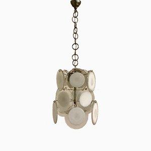 Lámpara de araña Mid-Century con discos de cristal de Murano de Gino Vistosi