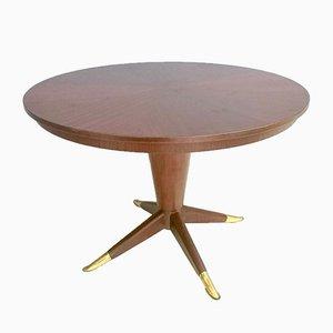 Round Mid-Century Mahogany & Brass Dining Table, 1950s