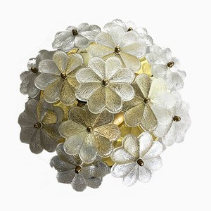 Large Floral Glass & Brass Ceiling Wall Light from Ernst Palme, 1970s