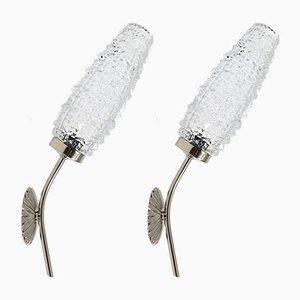 Lámparas de pared de vidrio y metal cromado, años 50. Juego de 2